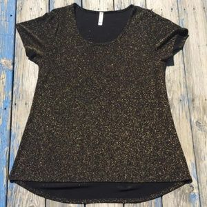 Lularoe Top Sparkle Classic Tee Holiday XL Gold G